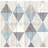 Vliesové tapety na zeď Collage retro dřevěná prkna tyrkysovo-hnědé