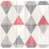 Vliesové tapety na zeď Collage retro dřevěná prkna červeno-šedé