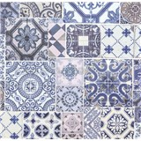 Vliesové tapety na zeď Collage obklad Barcelona modro-fialový