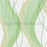 Vliesové tapety na zeď Modern Line vlnovky zelené