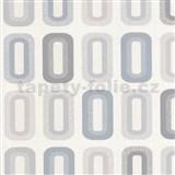 Vinylové tapety na zeď Collection retro oválky šedé, modré