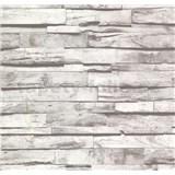 Vliesové tapety na zeď Collection dřevěnný obklad šedý