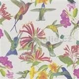 Vliesové tapety na zeď květy a ptáci na béžovém podkladu - POSLEDNÍ 3 KS
