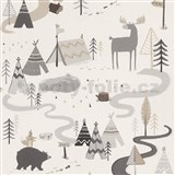 Dětské papírové tapety na zeď IMPOL Collection stylizovaná zvířátka