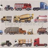 Dětské papírové tapety na zeď IMPOL Collection nákladní auta