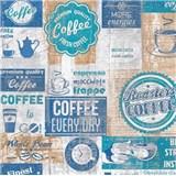 Papírové tapety na zeď retro cofee modré