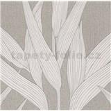 Vliesové tapety na zeď Hygge bambusové listy krémové s bílými konturami POSLEDNÍ KUS