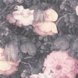 Vliesové tapety na zeď Metropolitan Stories florální vzor růžovo-černý