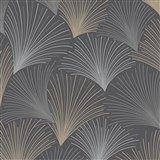 Vliesové tapety na zeď Collection paprskový vzor hnědo-šedý na černém podkladu s třpytkami