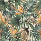 Vliesové tapety na zeď IMPOL Collection listy Tropical zelené na krémovém podkladu