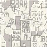 Dětské vliesové tapety na zeď IMPOL Collection domečky šedo-bílé