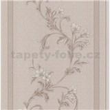Vliesové tapety na zeď florální vzor na hnědém vzorovaném podkladu