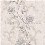 Vliesové tapety na zeď IMPOL květy na krémovém strukturovaném podkladu