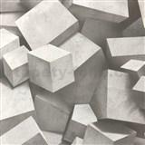 Vliesové tapety na zeď 3D kostky šedé