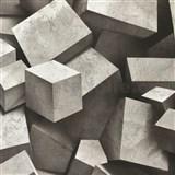 Vliesové tapety na zeď 3D kostky šedo-černé