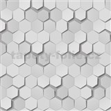 Papírové tapety na zeď 3D plástev šedá