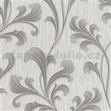 Vliesové tapety na zeď Como listy šedo-stříbrné