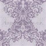 Vliesové tapety na zeď Como - barokní vzor fialový s fialovo-stříbrným ornamentem DOPRODEJ