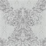 Vliesové tapety na zeď Como - barokní vzor šedý se stříbrnými ornamenty