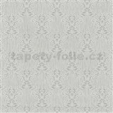 Vliesové tapety na zeď Como - stříbrné ornamenty na šedém podkladu