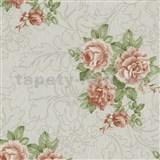Vliesové tapety na zeď Como - růže oranžové na krémovém podkladu - SLEVA