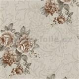 Vliesové tapety na zeď Como - růže hnědé na světle hnědém podkladu