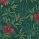 Vliesové tapety na zeď IMPOL CUBA květy s listy sytě růžové na zeleném podkladu