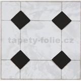 Vinylové samolepící podlahové čtverce Classic mozaika černobílá rozměr 30,5 cm x 30,5 cm
