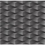 Papírové tapety na zeď 3D kostky tmavě šedé