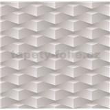 Papírové tapety na zeď 3D kostky šedé
