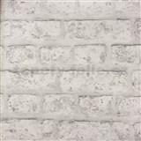 Papírové tapety na zeď cihla bílo-šedá