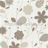 Tapety na zeď Delight - světle hnědé design květy -SLEVA