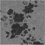 Luxusní vliesové tapety na zeď G.M.Kretschmer Deluxe květy černo-stříbrné
