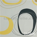 Tapety na zeď Ginas - elipsy černo-žluté