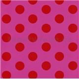 Dětské tapety na zeď Die Maus puntíky červené na růžovém podkladu - POSLEDNÍ KUSY