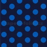 Tapety na zeď Die Maus puntíky modré na tmavě modrém podkladu