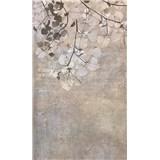 Vliesové fototapety betonová zeď s listy rozměr 150 cm x 250 cm