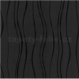 Vinylové tapety na zeď vlnovky černé - SLEVA