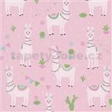 Dětské vliesové tapety na zeď IMPOL lama alpaka na růžovém podkladu