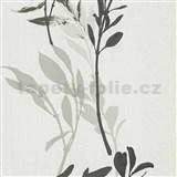 Vliesové tapety na zeď IMPOL Wall We Love květy černo-šedé na bílém podkladu