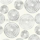 Vliesové tapety na zeď Graphics & Basics kruhy stříbrno-černé na bílém podkladu