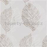 Vliesové tapety na zeď Scandinja listy hnědé na šedém podkladu
