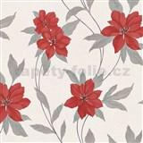 Vinylové tapety na zeď Spring květy červené s šedými stonky a lístky