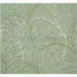 Vliesová tapeta Estelle listy zeleno-stříbrné na zeleném podkladu