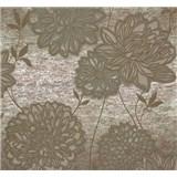 Vliesová tapeta Estelle květy olivově zelené