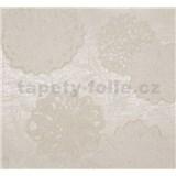 Vliesové tapety na zeď Estelle květy bílé na krémovém podkladu