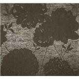 Vliesová tapeta Estelle květy hnědé