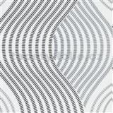 Vliesové tapety na zeď G.M.K. Fashion for walls vlnovky černo-šedé na bílém podkladu