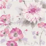 Vliesové tapety na zeď G.M.K. Fashion for walls květy růžovo-fialové na bílém podkladu