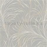 Vliesové tapety na zeď Felicita jemné listy hnědo-krémové na šedém podkladu